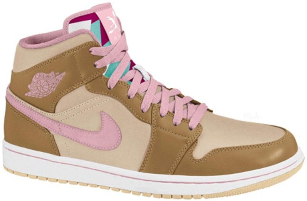 Air Jordan 1 Retro Mid WB Girls Wheat/Pink Glaze-Shimmer