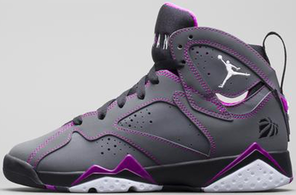 Air Jordan 7 Retro Girls Dark Grey/White-Black-Fuchsia Flash