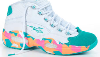 Reebok Question Mid White/Solid Teal-Fluorescent Orange-Victory Pink