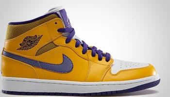 Air Jordan 1 Mid University Gold/Tour Yellow-White-Grape Ice