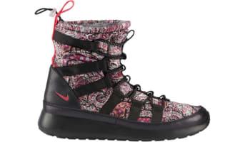 on sale 7216f 6cb08 Nike Roshe Run Hi Sneakerboot Liberty QS Women's Black/Solar Red-Black