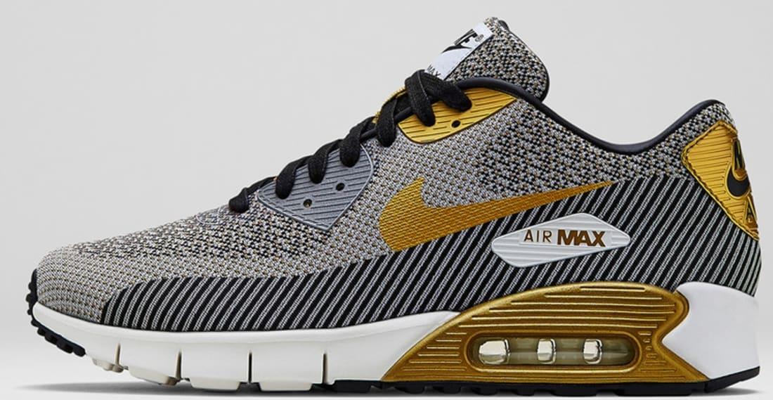 Nike Air Max 90 Black Metallic Silver Gold