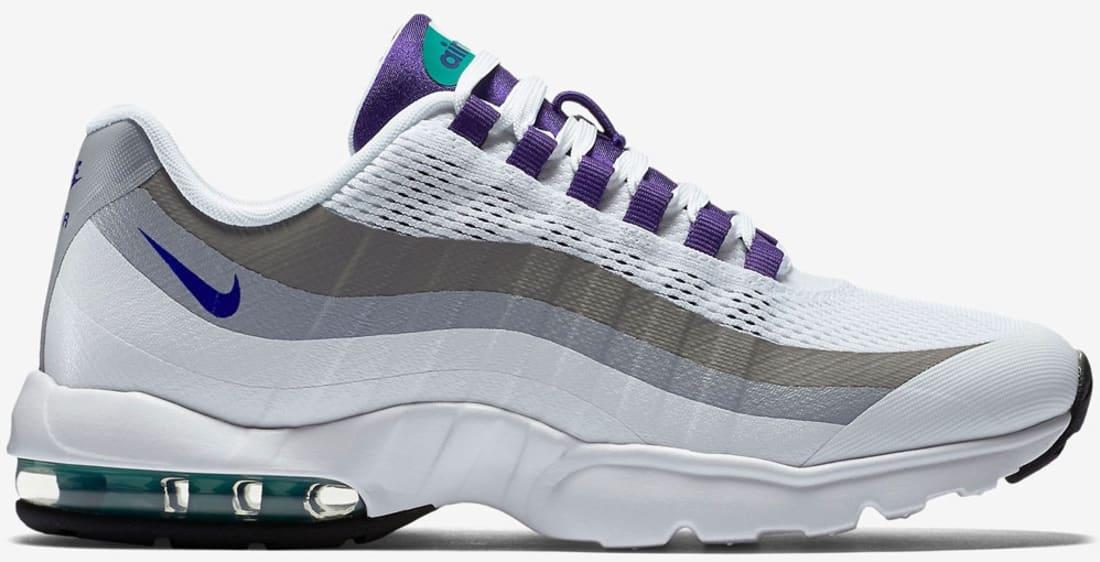 Nike Womens Air Max 95 Ultra White Court Purple Emerald Green