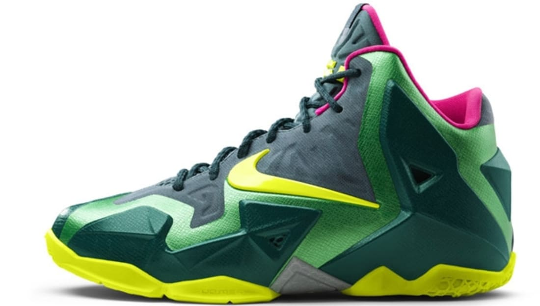 Nike LeBron 11 T-Rex (GS) Sneakers (Deep Sea Green/Volt-Gamma Green-Mineral Teal-Rave Pink)