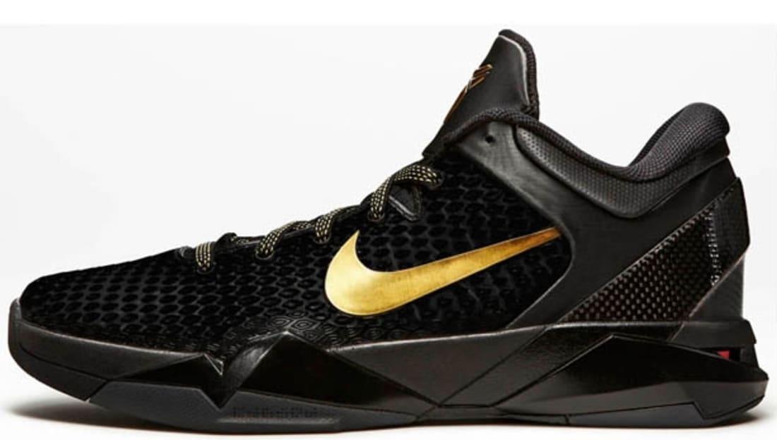 Nike Kobe 7 Zoom Black White Gold Basketball Shoes