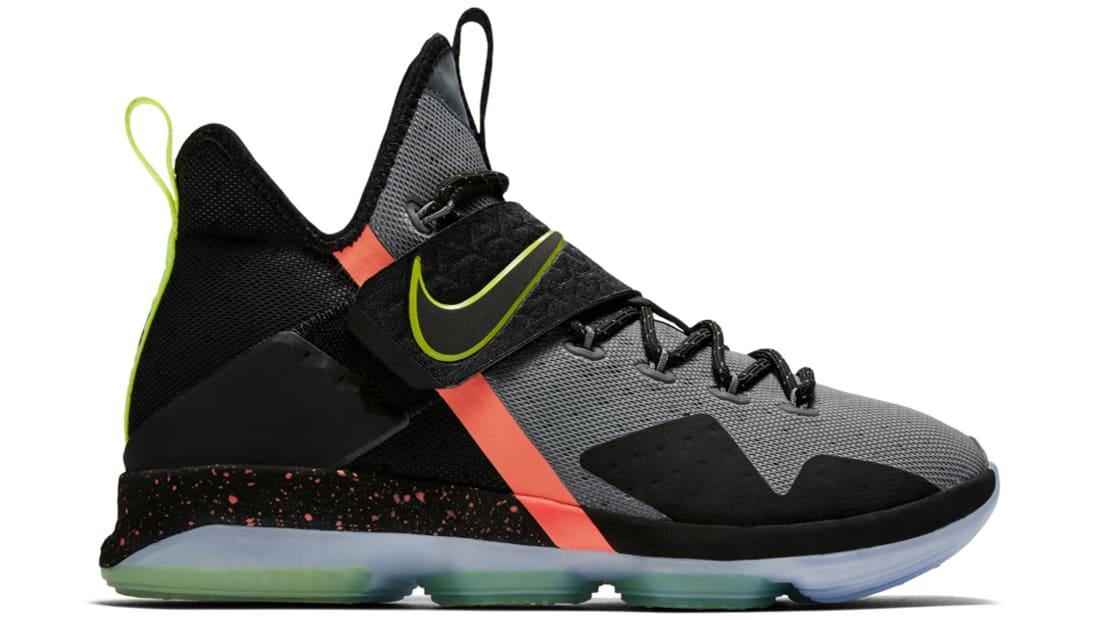 Nike LeBron 14 Out of Nowhere Sneakers (Black/Volt-Cool Grey)