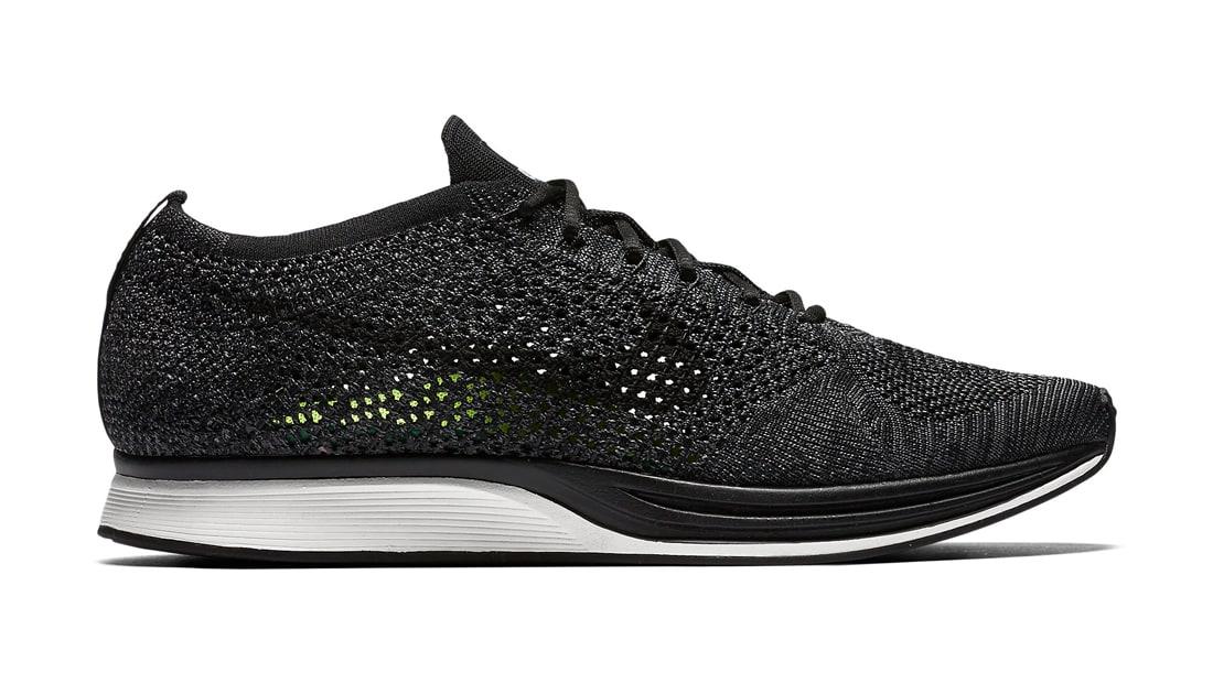 Nike Flyknit Racer Knit by Night Sneakers (Black/Dark Grey)