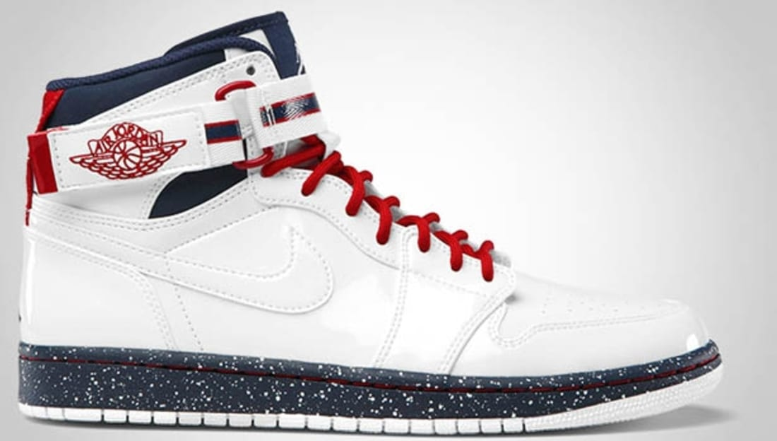 air jordan 1 high strap white/varsity red-midnight navy