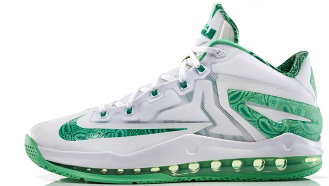 Nike LeBron 11 Low Easter Sneakers (White/Green Metallic)