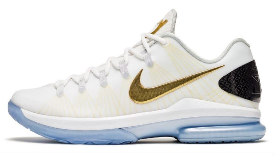 Nike KD 5 Elite+ White Gold Sneakers (White/Metallic Gold-Black-Pure Platinum)
