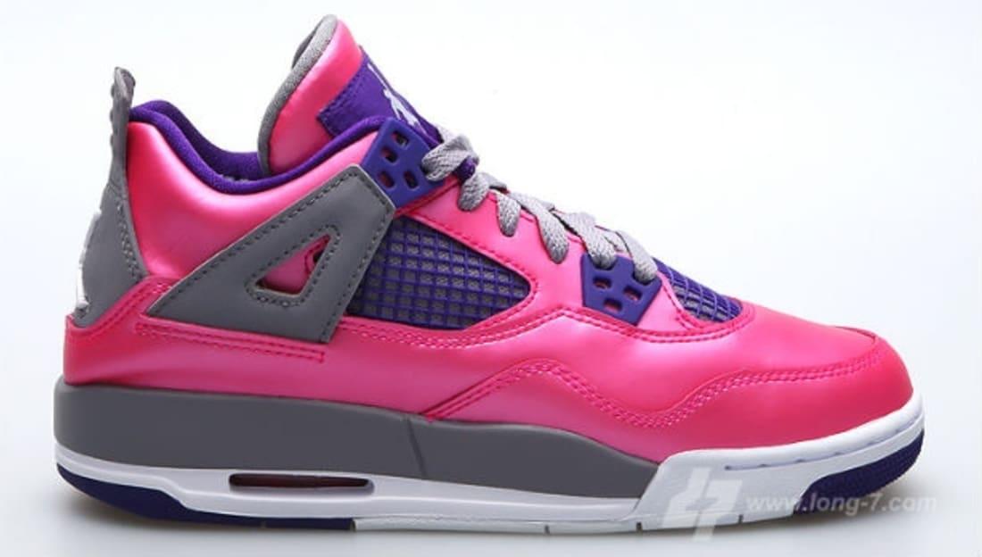 Air Jordan 4 Girls Pink FoilWhiteGreyElectric Purple New Year Deals