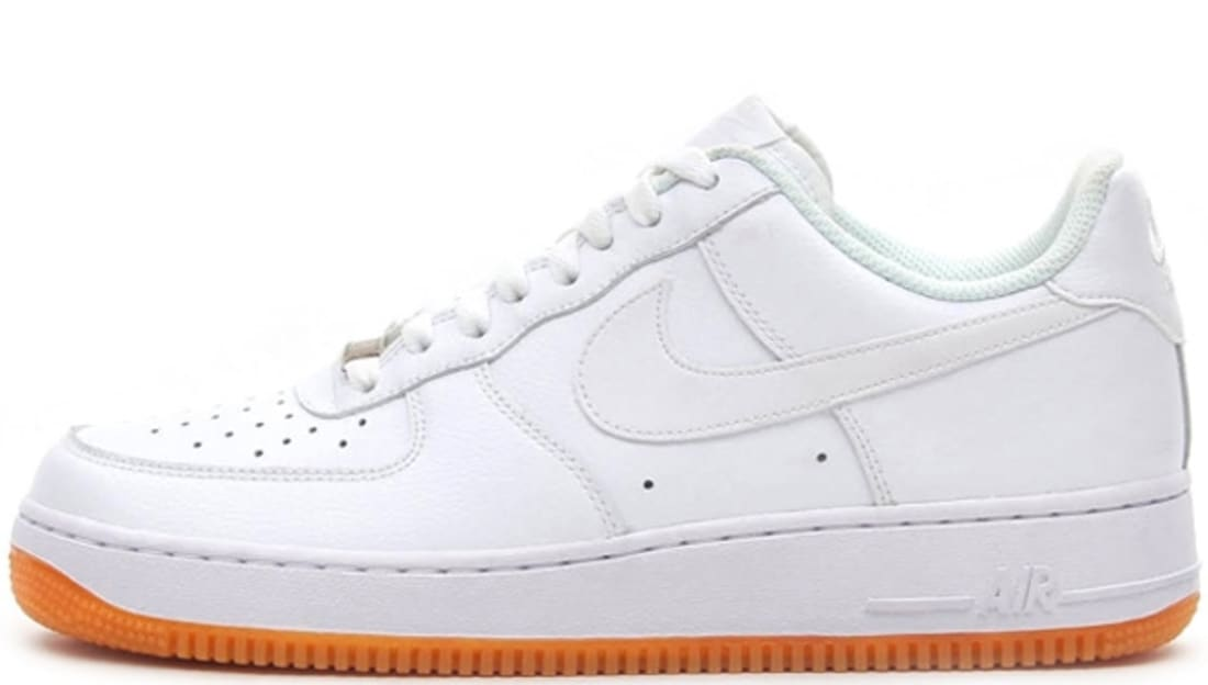 white nike air force 1 with gum sole sneakers