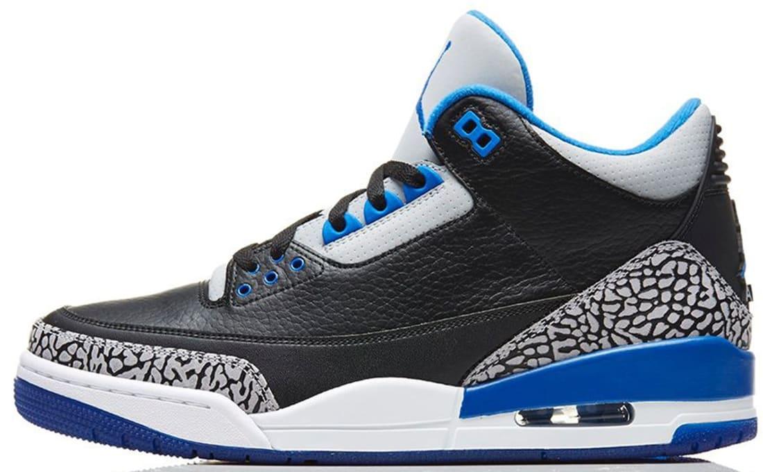Air Jordan Retro 3 Black Grey Blue Shoes