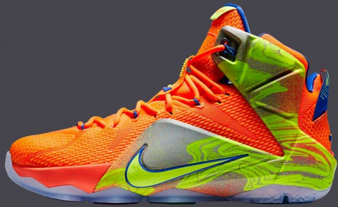 Nike Lebron 12 Hyper Crimson / Metallic Cool Grey / Hyper Cobalt / Volt