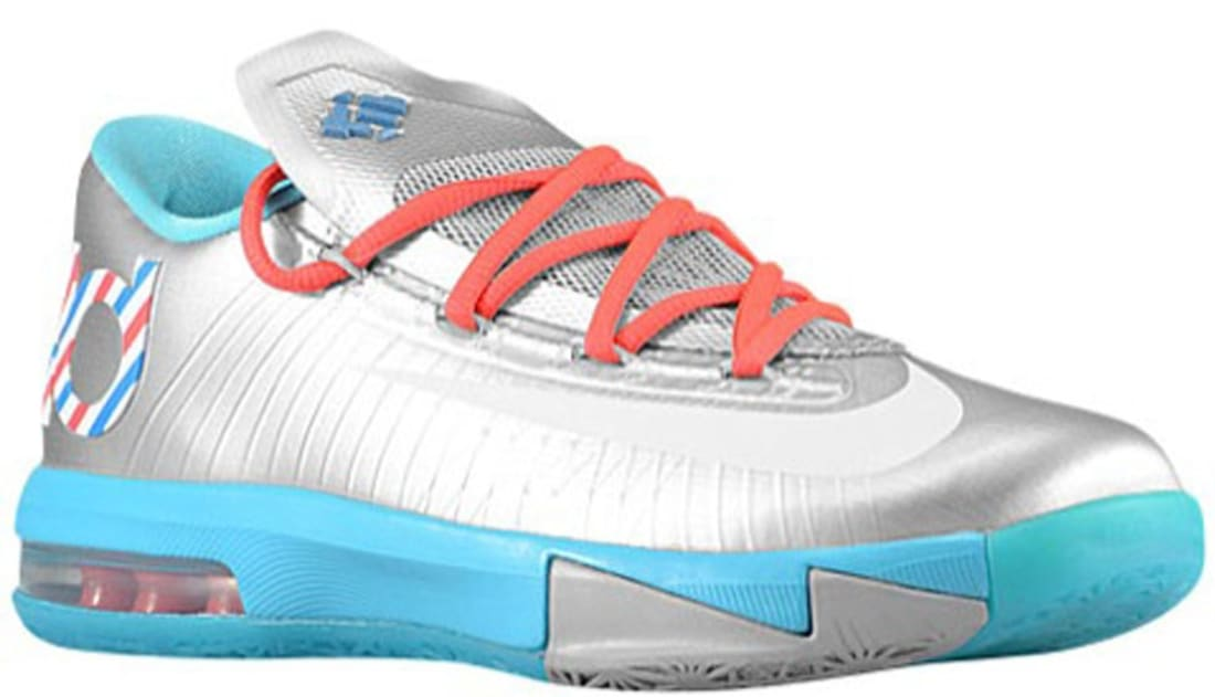 Nike KD VI GS Metallic Silver/White-Turquoise Blue-Laser Crimson | Nike |  Sole Collector
