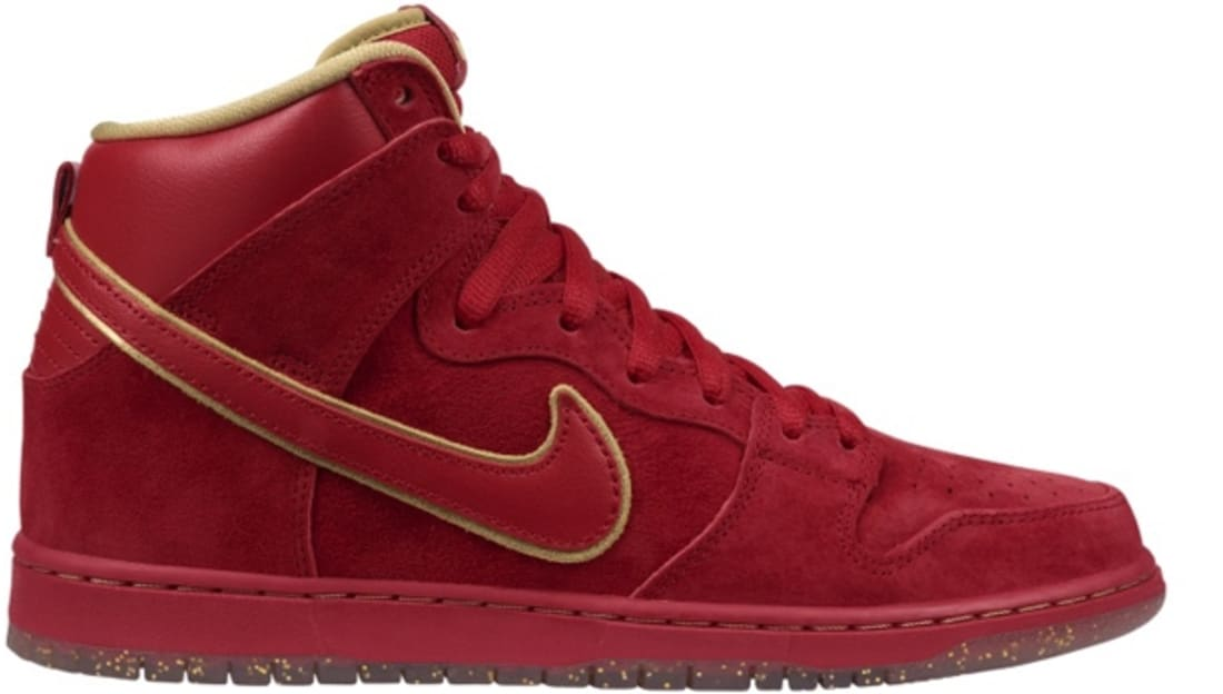 Nike Dunk SB High Chinese New Year (CNY) Sneakers (University Red/University Red-Metallic Gold)