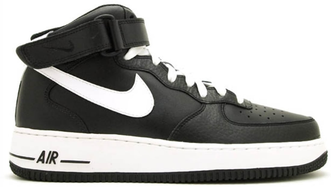 nike air force 1 white and black mid air