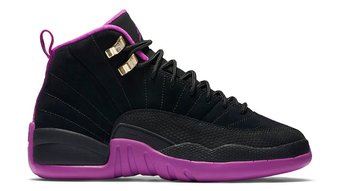 3b091557a66 Color  Black  womens air jordan retro 12 black purple ...