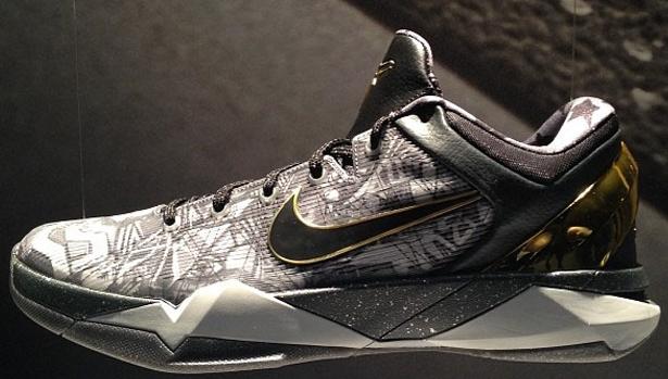 Nike Zoom Kobe VII System Prelude Cool Grey/Metallic Gold-Black