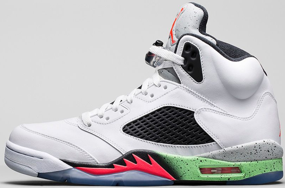 Air Jordan 5 Retro White/Infrared 23-Light Poison Green-Black