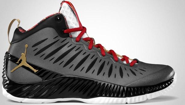 Jordan Super Fly Black/Metallic Gold-Gym Red-White