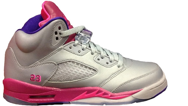 Girls Air Jordan 5 Retro GS Cement Grey/Pink Foil