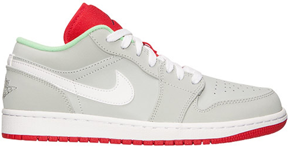 Air Jordan 1 Low Grey Mist/University Red-Poison Green