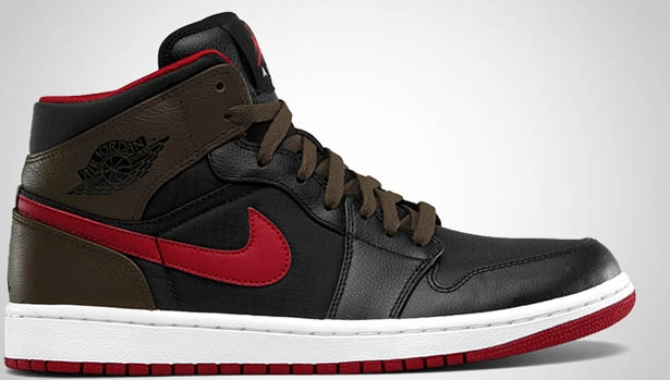 Air Jordan 1 Phat Mid Black/Gym Red-Light Olive-White