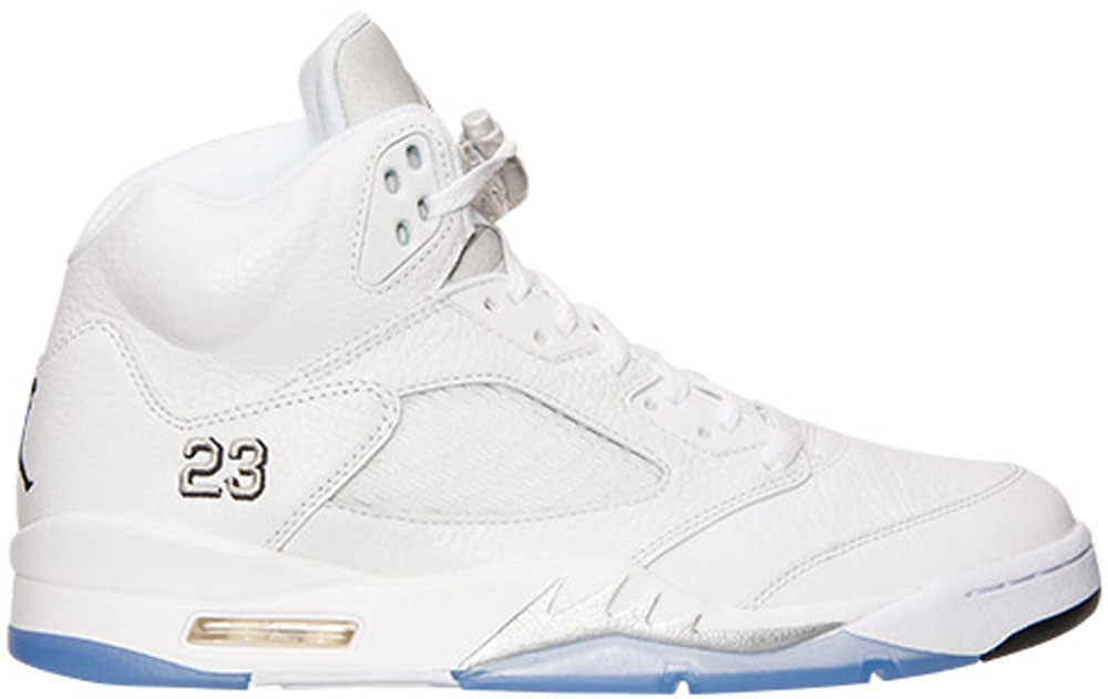 Air Jordan 5 Retro White/Metallic Silver-Black