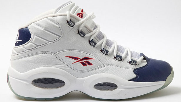 Reebok Question Mid White/Pearlized Navy-Red