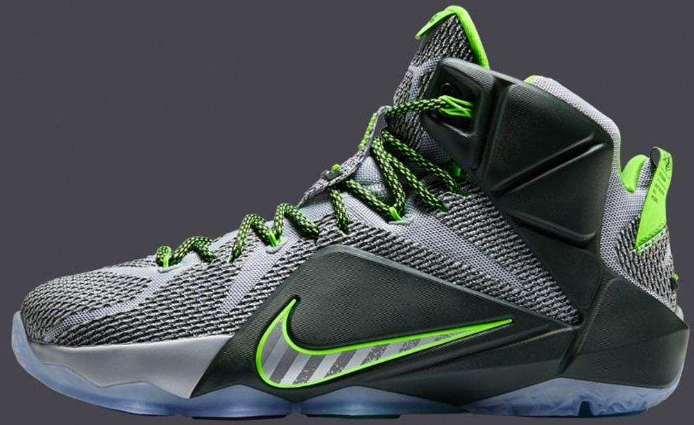 Nike LeBron 12 Wolf Grey/Reflect Silver-Black-Electric Green