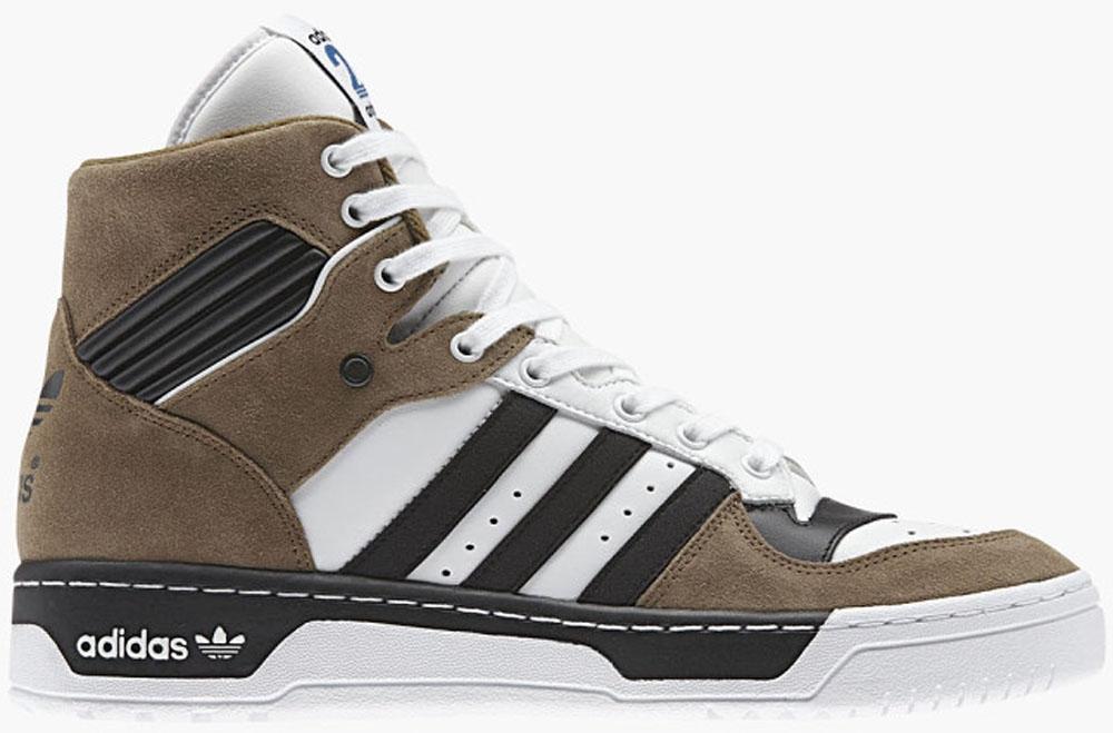 adidas Originals Rivalry Hi Flat White/Carbon Black-Brown